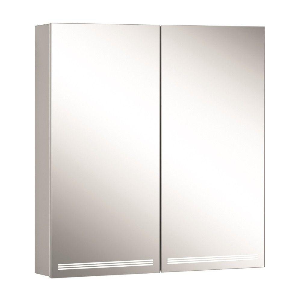 Schneider Spiegelschrank GRACELINE 70/2/TW B:70xH:70xT:12cm mit mit Beleuchtung mit Accessoire-Box und Kosmetikspiegel eloxiert 116.470.02.50
