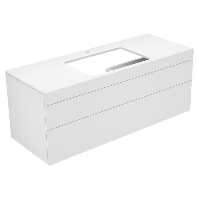 Keuco Edition 400 Waschtischunterbau mit Hahnlochbohrung 2 Auszüge 1400 x 546 x 535 mm weiß hochglanz/Glas cashmere klar 31573840100