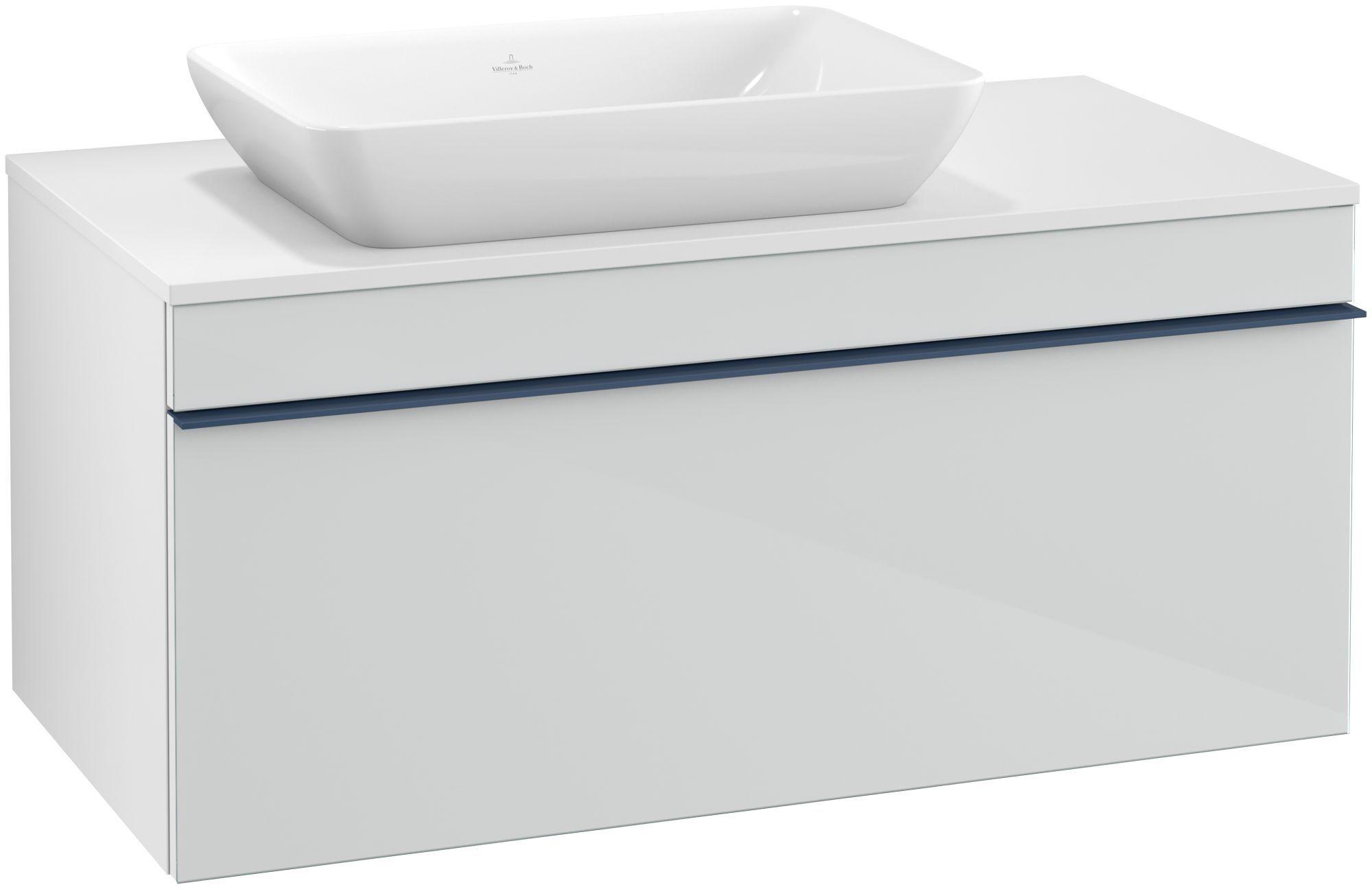 Villeroy & Boch Venticello Waschtischunterschrank für Waschtisch links 1 Auszug B:95,7xH:43,6xT:50,2cm Glas glossy white Griffe blau Griffe blau A94704RE