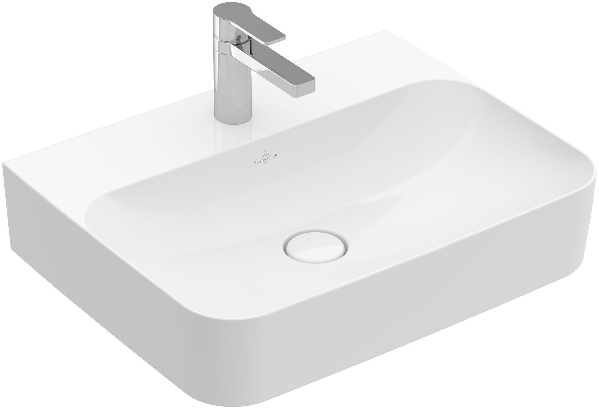 Villeroy & Boch Finion Waschtisch ohne Überlauf 1 Hahnloch B:60xT:47cm ohne Überlauf 1 Hahnloch weiß Ceramicplus 41686LR1