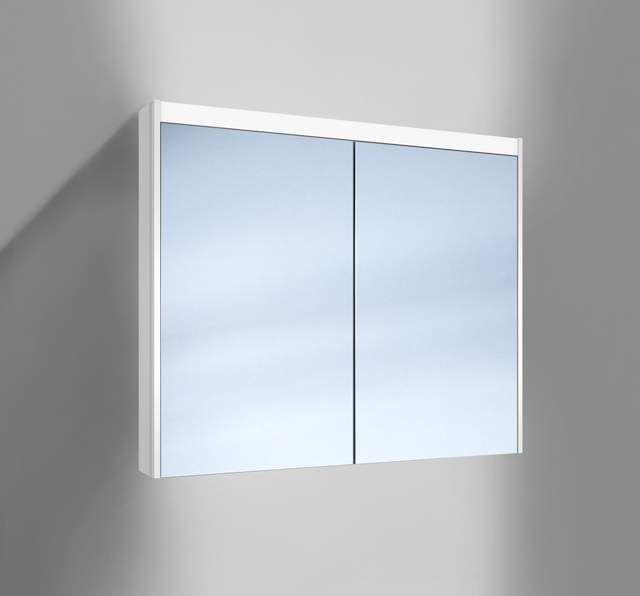 Schneider O-Line LED Spiegelschrank B:90xH:74,5xT:15,8cm 2 Türen weiß 165.290.02.02