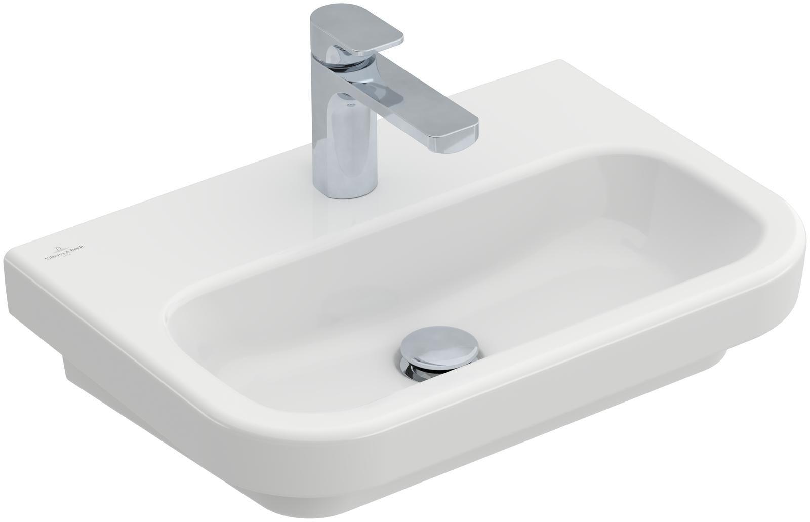 Villeroy & Boch Architectura Compact Waschtisch B:55xT:38cm mit 1 Hahnloch ohne Überlauf weiß 41895601