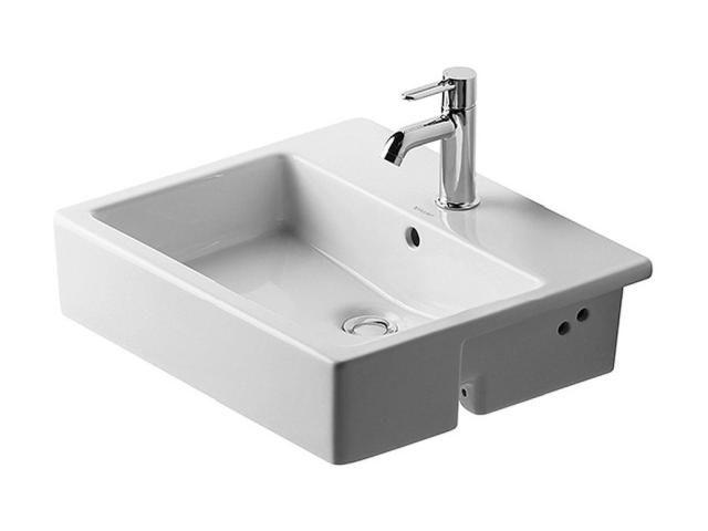 Duravit Vero Einbauwaschtisch B:55xT:47cm 1 Hahnloch mittig mit Überlauf weiß 0314550000