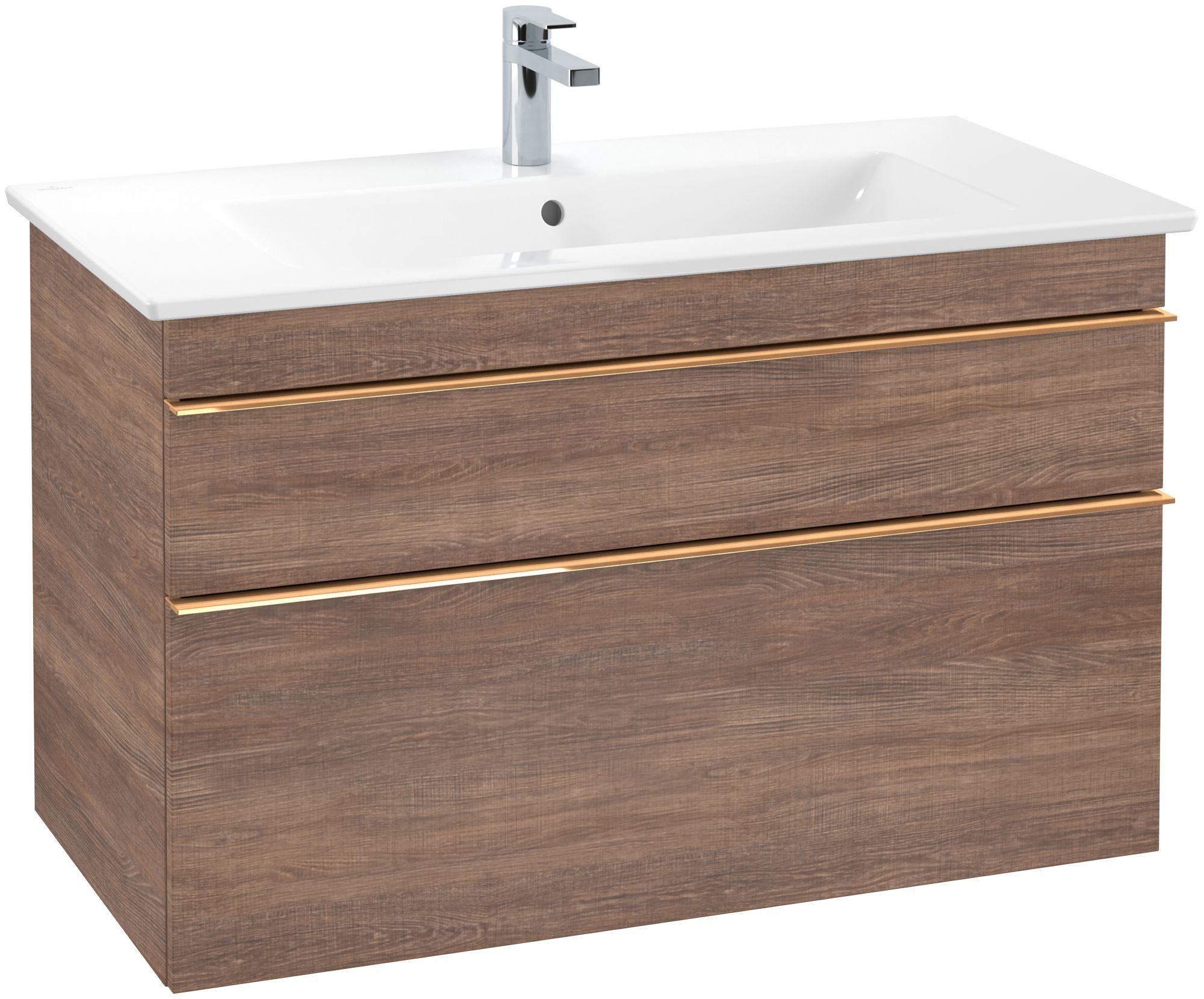 Villeroy & Boch Venticello Waschtischunterschrank 2 Auszüge B:95,3xH:59xT:50,2cm santana oak Griffe copper A92605E1