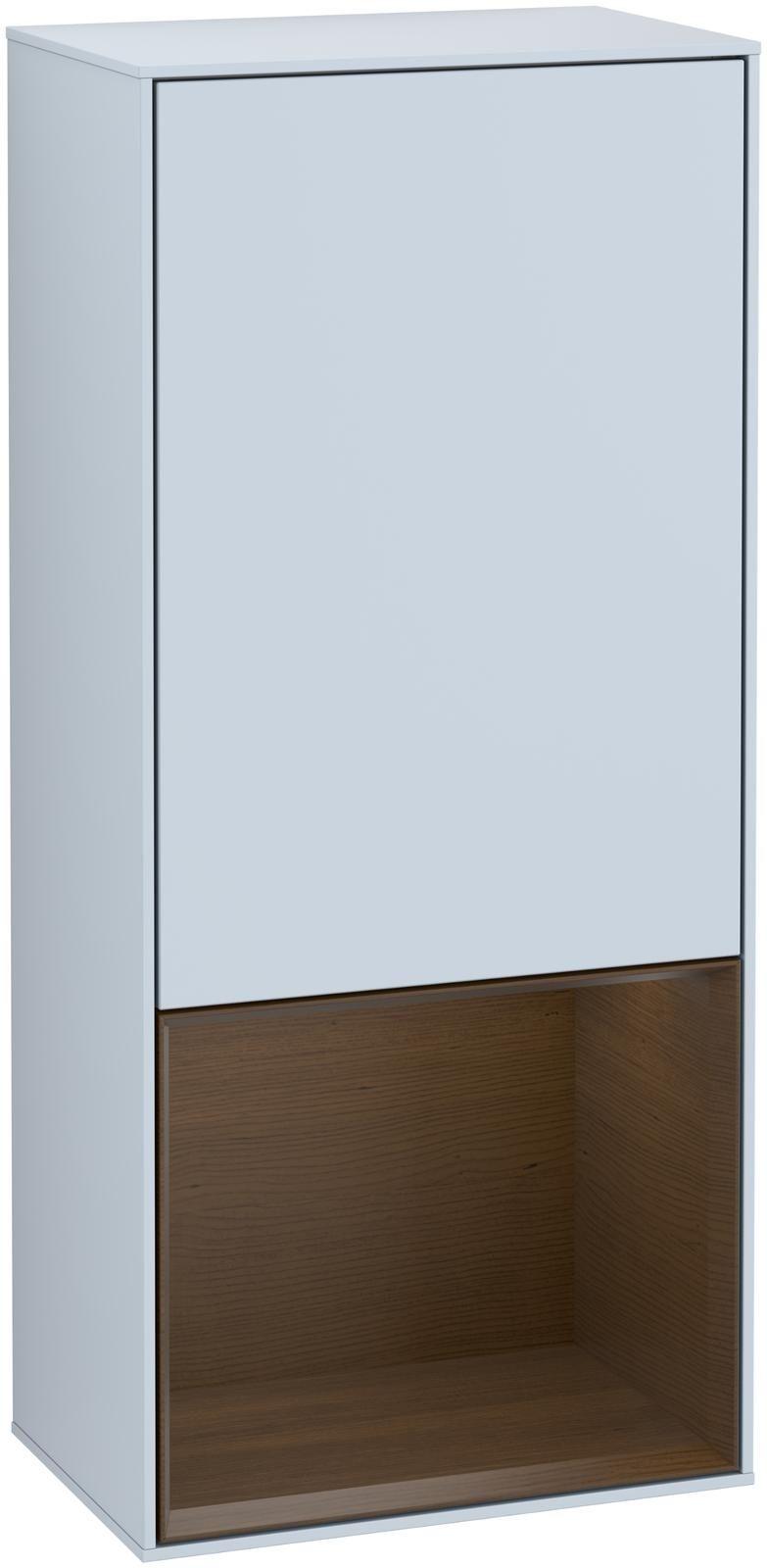 Villeroy & Boch Finion F54 Seitenschrank mit Regalelement 1 Tür Anschlag links LED-Beleuchtung B:41,8xH:93,6xT:27cm Front, Korpus: Cloud, Regal: Walnut Veneer F540GNHA