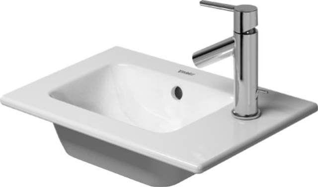 Duravit ME by Starck Möbelhandwaschbecken B:43xT:30cm 1 Hahnloch mittig ohne Überlauf weiß mit WonderGliss 07234300411