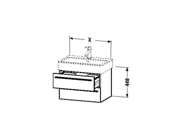 Duravit X-Large Waschtischunterschrank wandhängend B:75xH:44,8xT:44,3cm 2 Schubkästen weiß hochglanz XL634502222