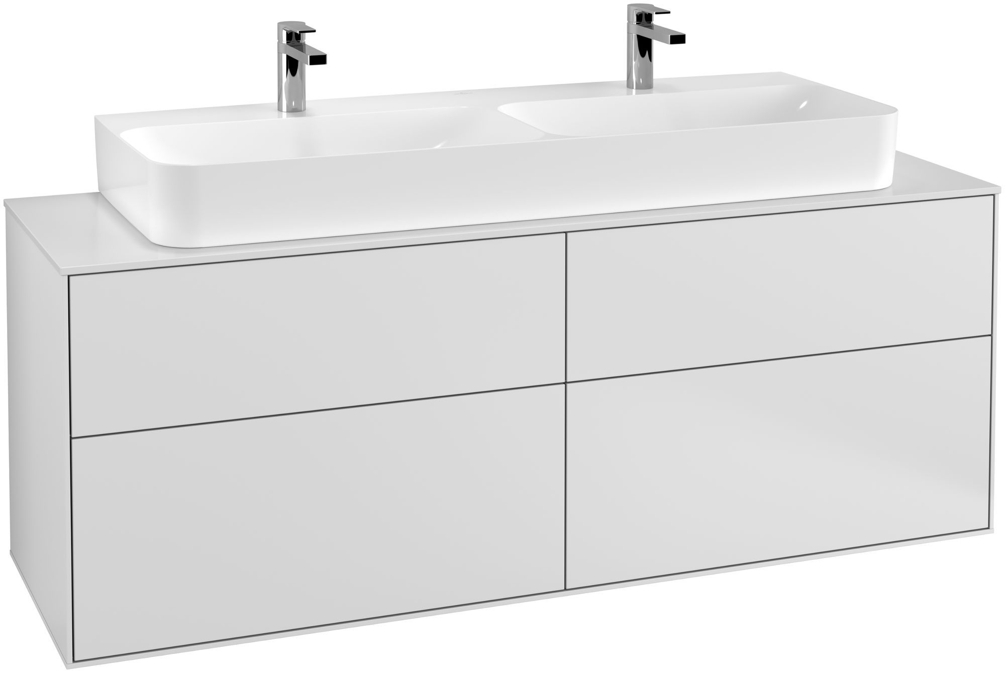 Villeroy & Boch Finion G20 Waschtischunterschrank 4 Auszüge Waschtisch mittig LED-Beleuchtung B:160xH:60,3xT:50,1cm Front, Korpus: Weiß Matt Soft Grey, Glasplatte: White Matt G20100MT