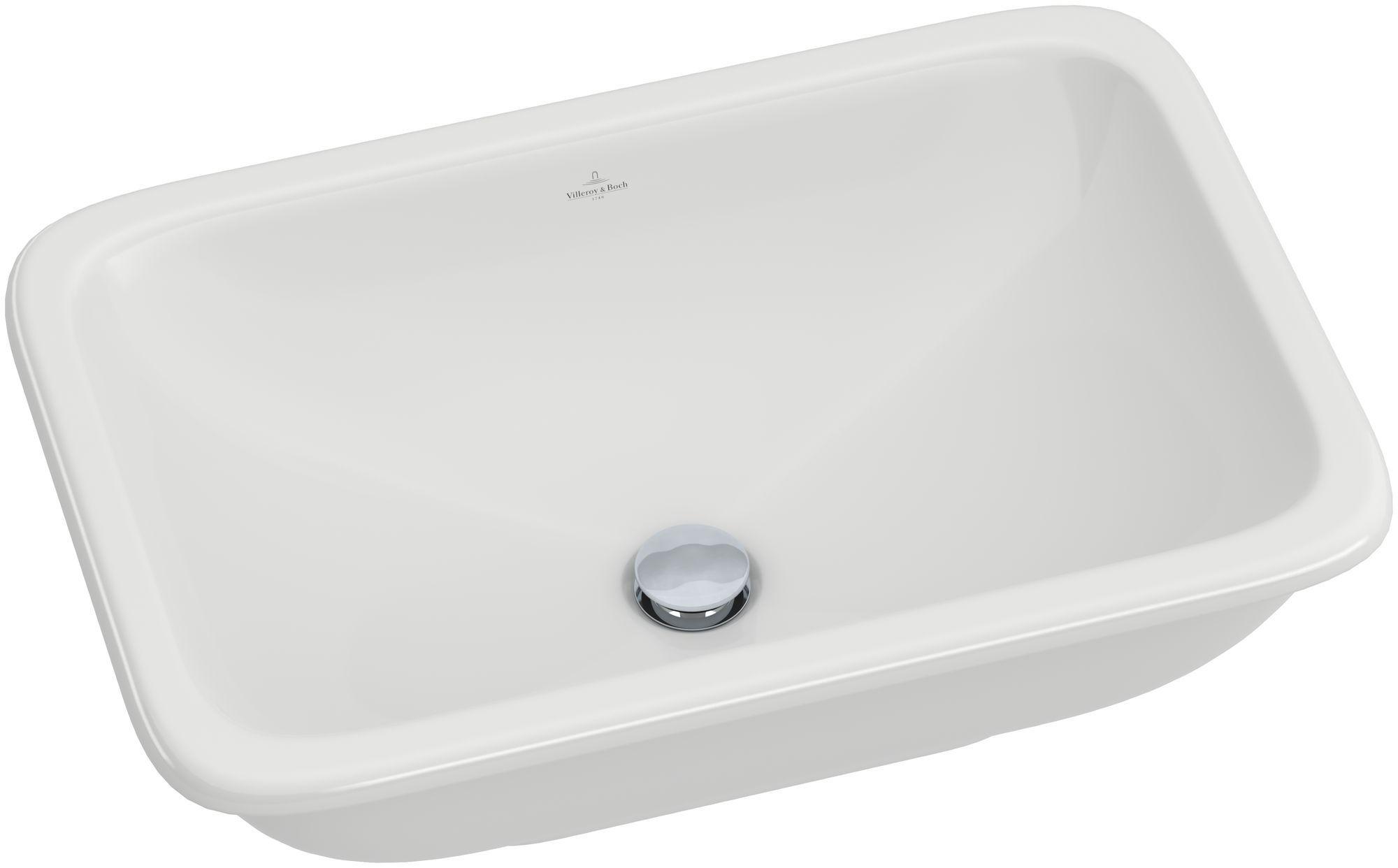 Villeroy & Boch Loop & Friends Einbauwaschtisch B:67,5xT:45cm ohne Hahnloch mit Überlauf weiß mit Ceramicplus 614520R1
