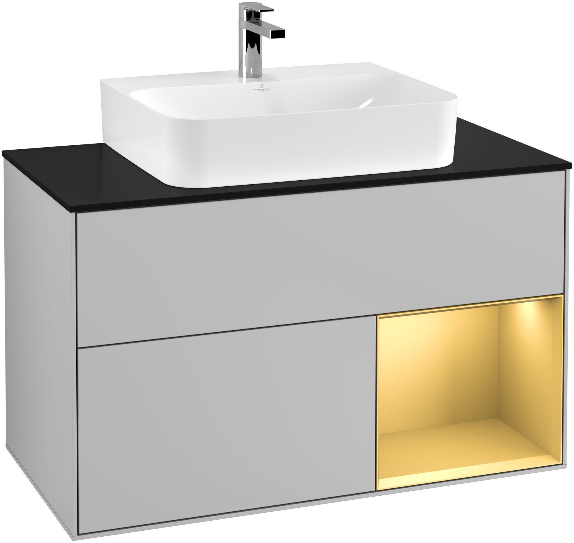 Villeroy & Boch Finion F12 Waschtischunterschrank mit Regalelement 2 Auszüge für WT mittig LED-Beleuchtung B:100xH:60,3xT:50,1cm Front, Korpus: Light Grey Matt, Regal: Gold Matt, Glasplatte: Black Matt F122HFGJ