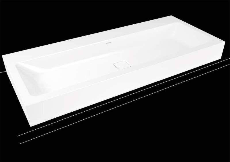 Kaldewei Cono Wandwaschtisch 3091 B:120xT:50cm ohne Überlauf mit 2 Hahnlöchern weiß mit Perl-Effekt 902706043001