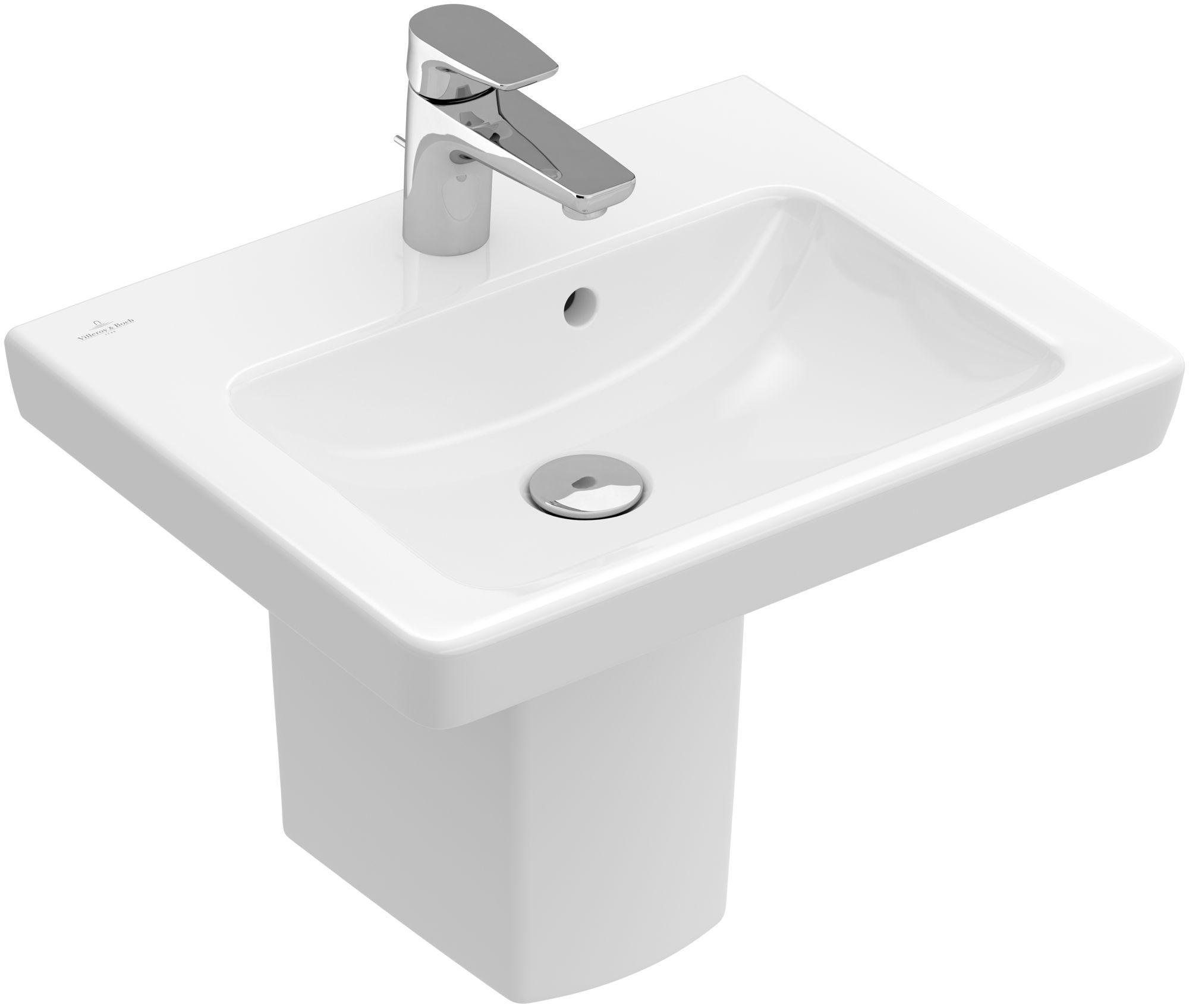 Villeroy & Boch Subway 2.0 Handwaschbecken B:50xT:40cm 1 Hahnloch mit Überlauf weiß mit Ceramicplus 731550R1