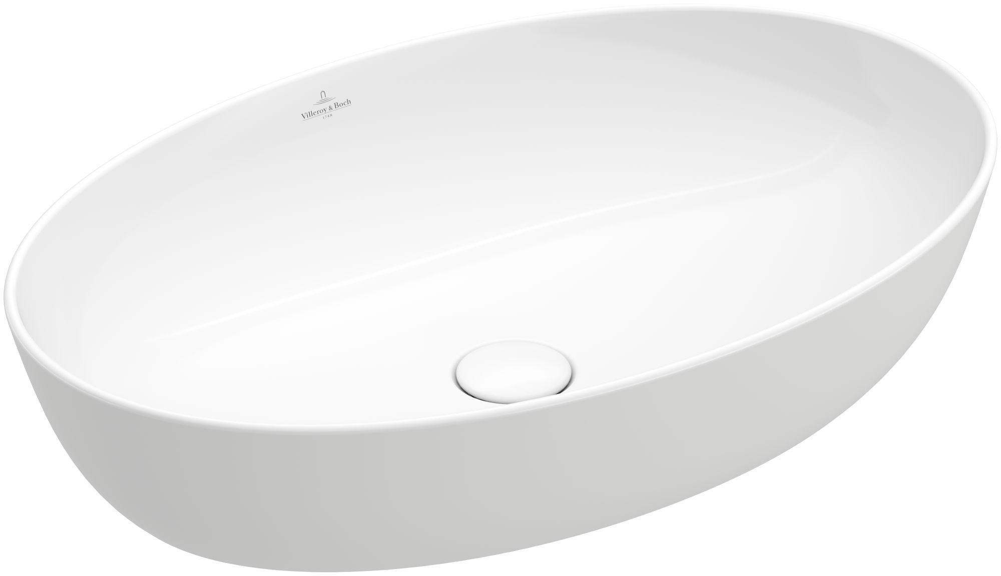 Villeroy & Boch Artis Aufsatzwaschtisch B:61xT:41cm ohne Hahnloch ohne Überlauf oval weiß mit CeramicPlus 419861R1