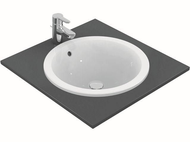Ideal Standard Connect Einbauwaschtisch rund DM:48cm ohne Hahnloch mit Überlauf weiß E505301