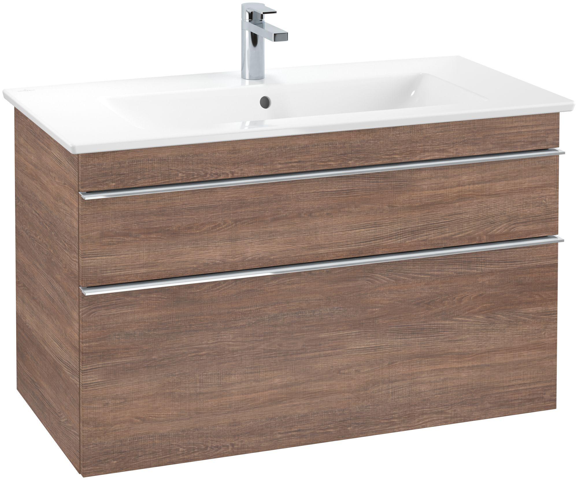 Villeroy & Boch Venticello Waschtischunterschrank 2 Auszüge B:953xT:502xH:590mm santana oak Griffe chrom A92601E1