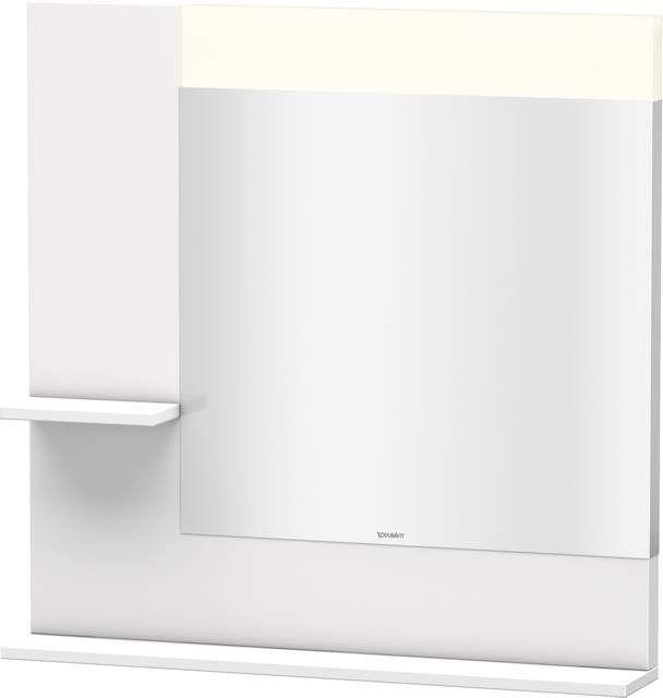 Duravit Vero Spiegel mit LED-Beleuchtung B:80xH:80xT:14,2cm mit Ablagen links und unten weiß hochglanz VE731102222