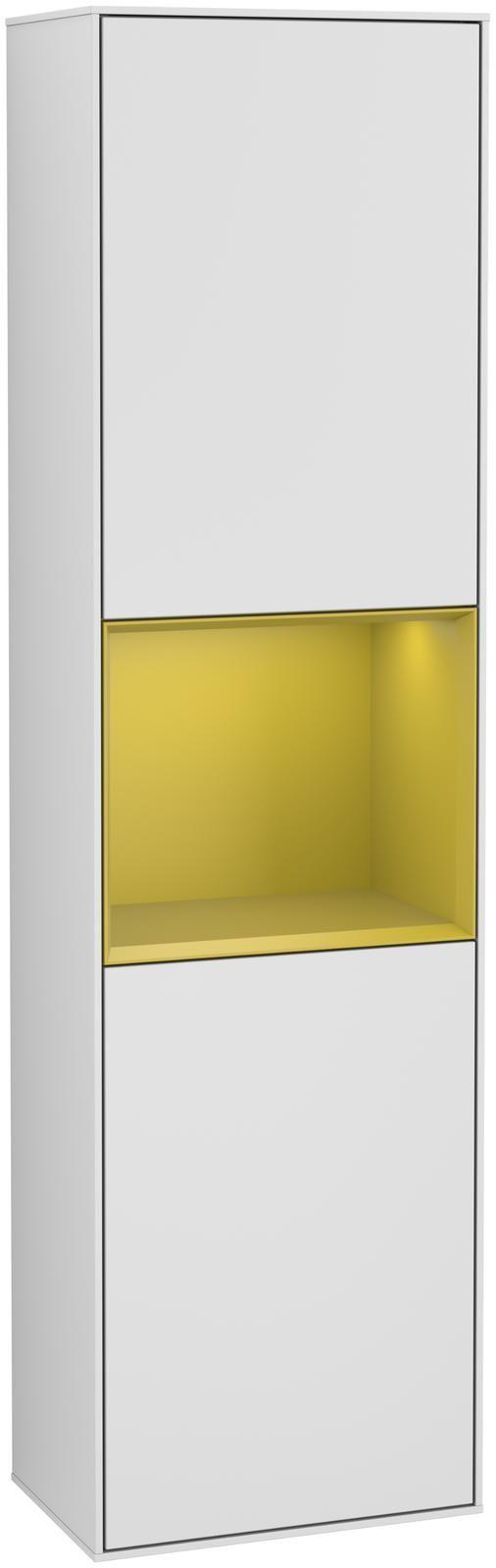 Villeroy & Boch Finion F46 Hochschrank mit Regalelement 2 Türen Anschlag links LED-Beleuchtung B:41,8xH:151,6xT:27cm Front, Korpus: Weiß Matt Soft Grey, Regal: Sun F460HEMT