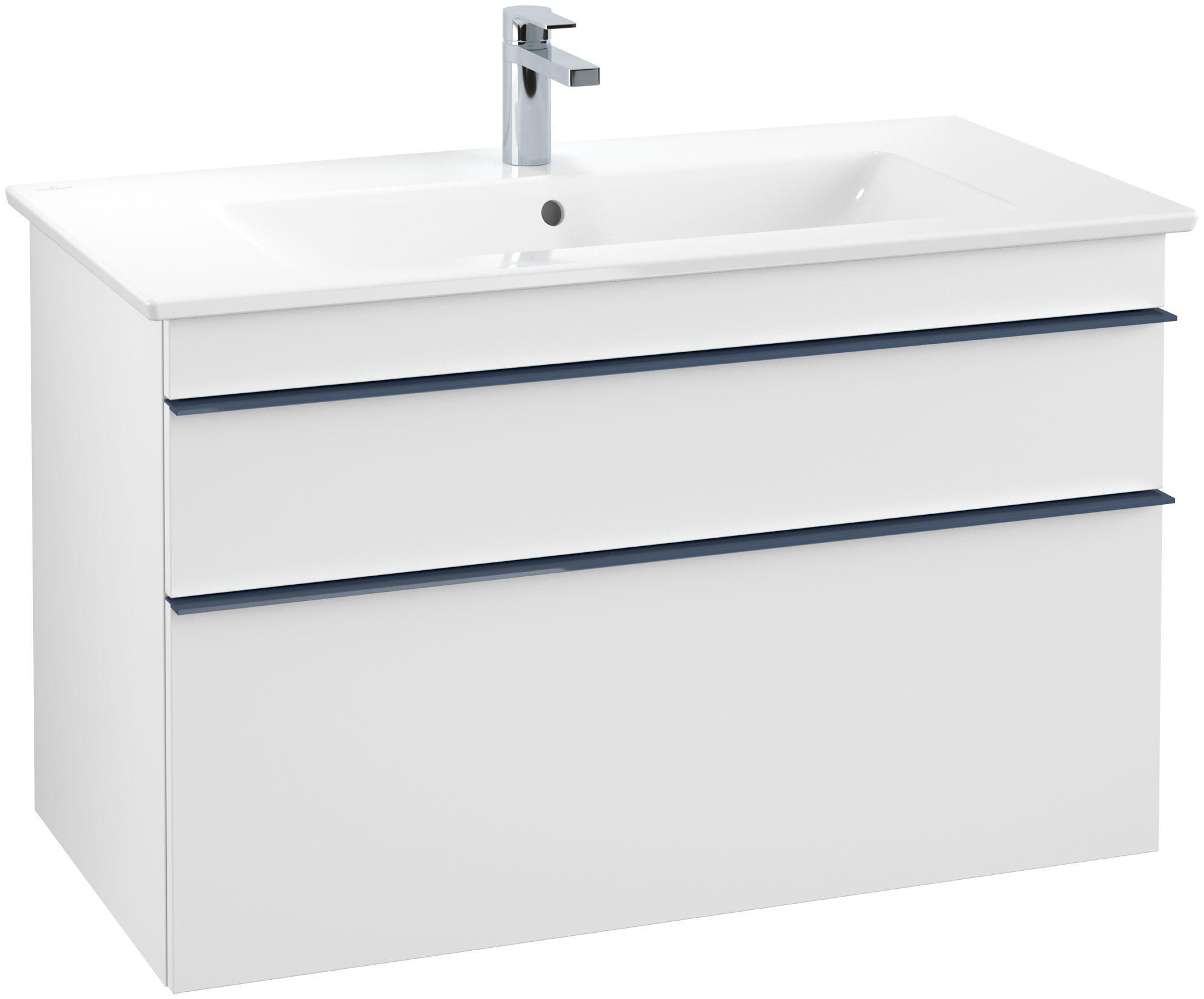 Villeroy & Boch Venticello Waschtischunterschrank 2 Auszüge B:953xT:502xH:590mm weiß matt Griffe blau A92604MS