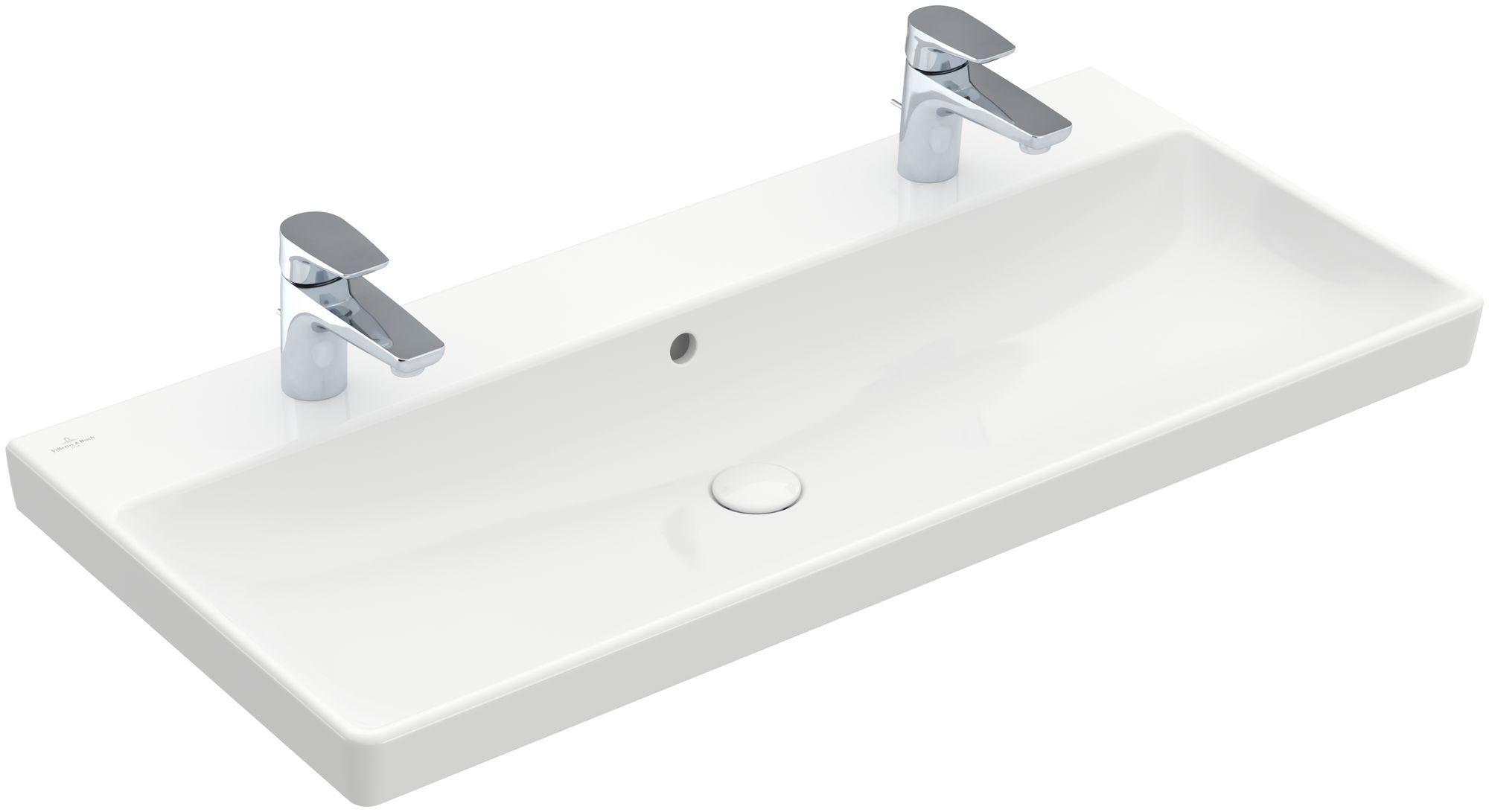 Villeroy & Boch Avento Doppelwaschtisch B:100xT:47cm 2 Hahnlöcher mit Überlauf weiß mit CeramicPlus 4156A4R1