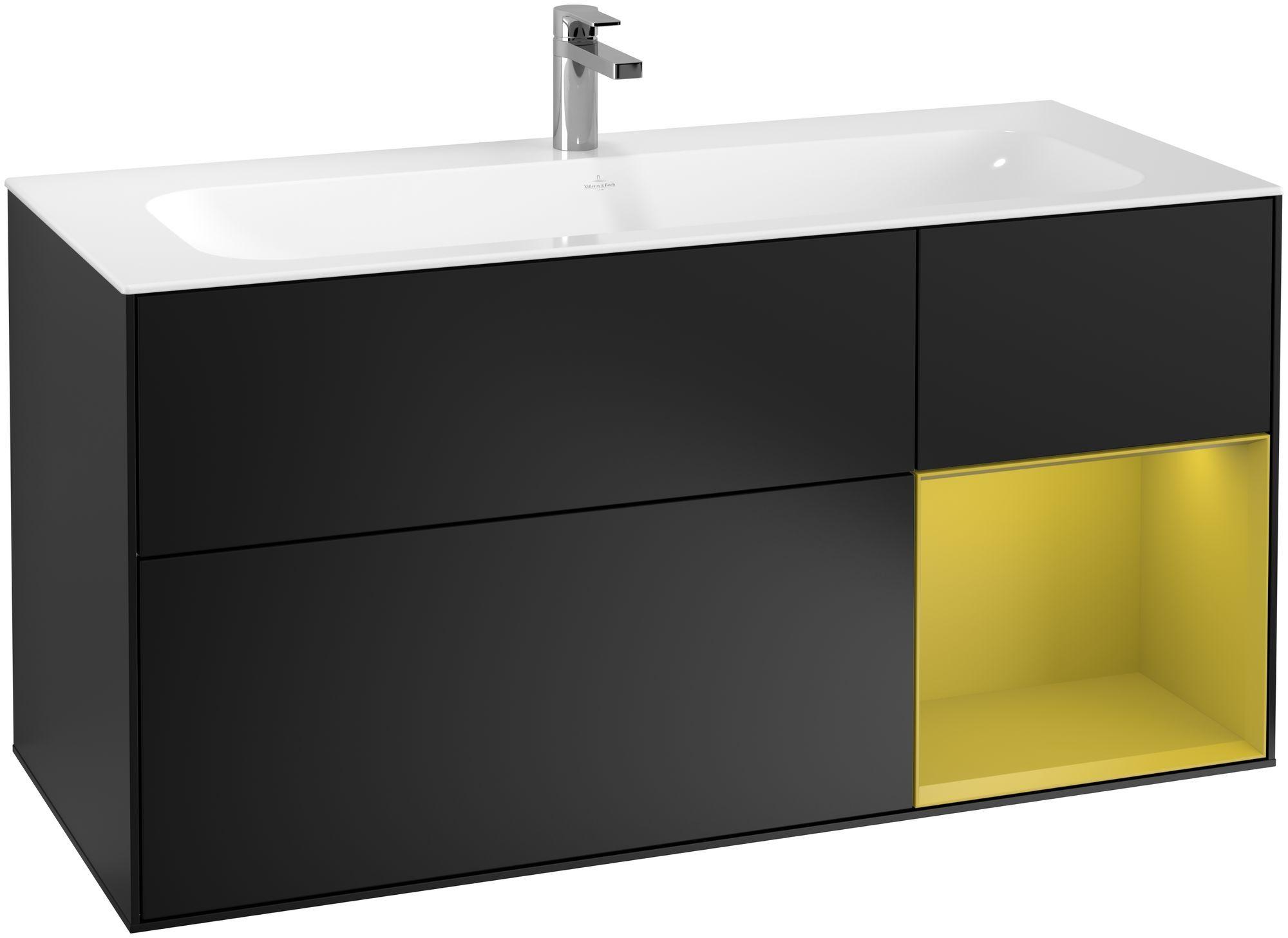 Villeroy & Boch Finion F07 Waschtischunterschrank mit Regalelement 3 Auszüge LED-Beleuchtung B:119,6xH:59,1xT:49,8cm Front, Korpus: Black Matt Lacquer, Regal: Sun F070HEPD