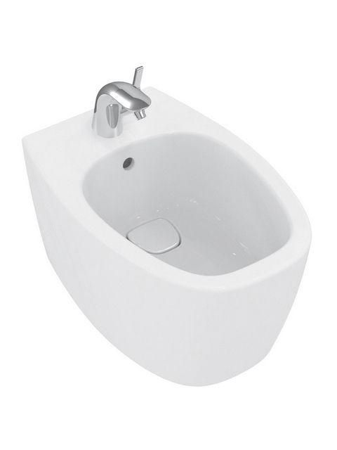 Ideal Standard Dea Wand-Bidet L:55xB:36,5xH:33,5cm 1 Hahnloch mittig mit Überlauf weiß mit IdealPlus T5098MA