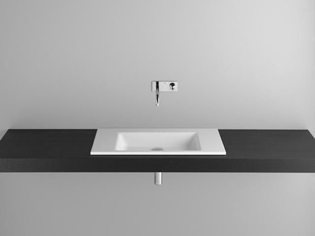Bette Aqua Einbauwaschtisch B:80xT:49,5xH:1cm ohne Hahnloch ohne Überlauf weiß A048-000