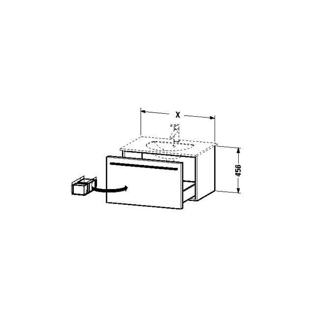 Duravit X-Large Waschtischunterschrank wandhängend B:60xH:45,6xT:49,7 cm mit 1 Auszug graphit matt XL606104949