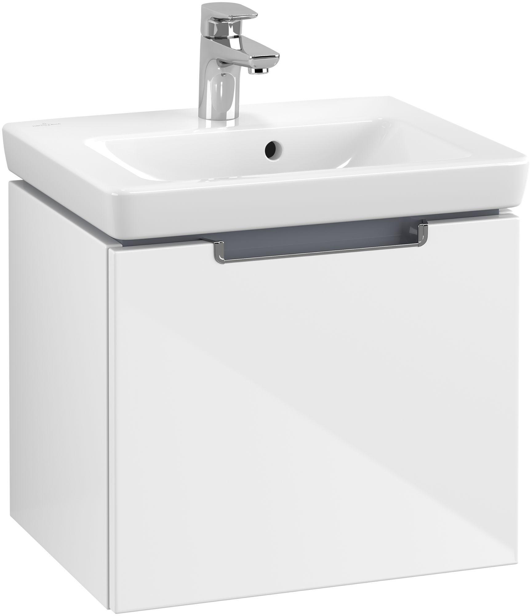 Villeroy & Boch Subway 2.0 Handwaschbecken-Unterschrank 1 Auszug B:485xT:380xH:420mm glossy weiß Griffe chrom A68510DH