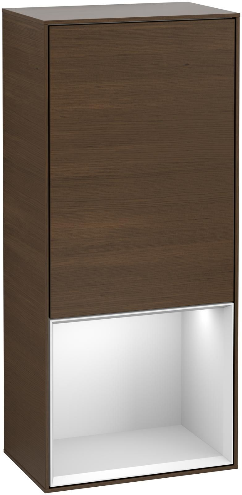 Villeroy & Boch Finion F54 Seitenschrank mit Regalelement 1 Tür Anschlag links LED-Beleuchtung B:41,8xH:93,6xT:27cm Front, Korpus: Walnut Veneer, Regal: Weiß Matt Soft Grey F540MTGN