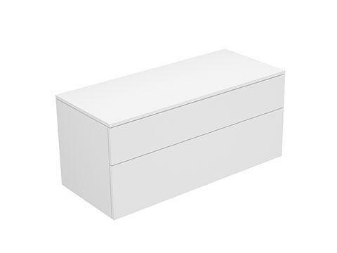 Keuco Edition 400 Sideboard wandhängend 2 Frontauszüge 1050 x 472 x 450 mm weiß/Glas trüffel satiniert 31753730001