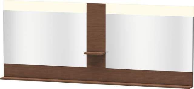 Duravit Vero Spiegel mit LED-Beleuchtung B:200xH:80xT:14,2cm mit Ablagen mittig und unten amerikanischer Nussbaum VE736301313