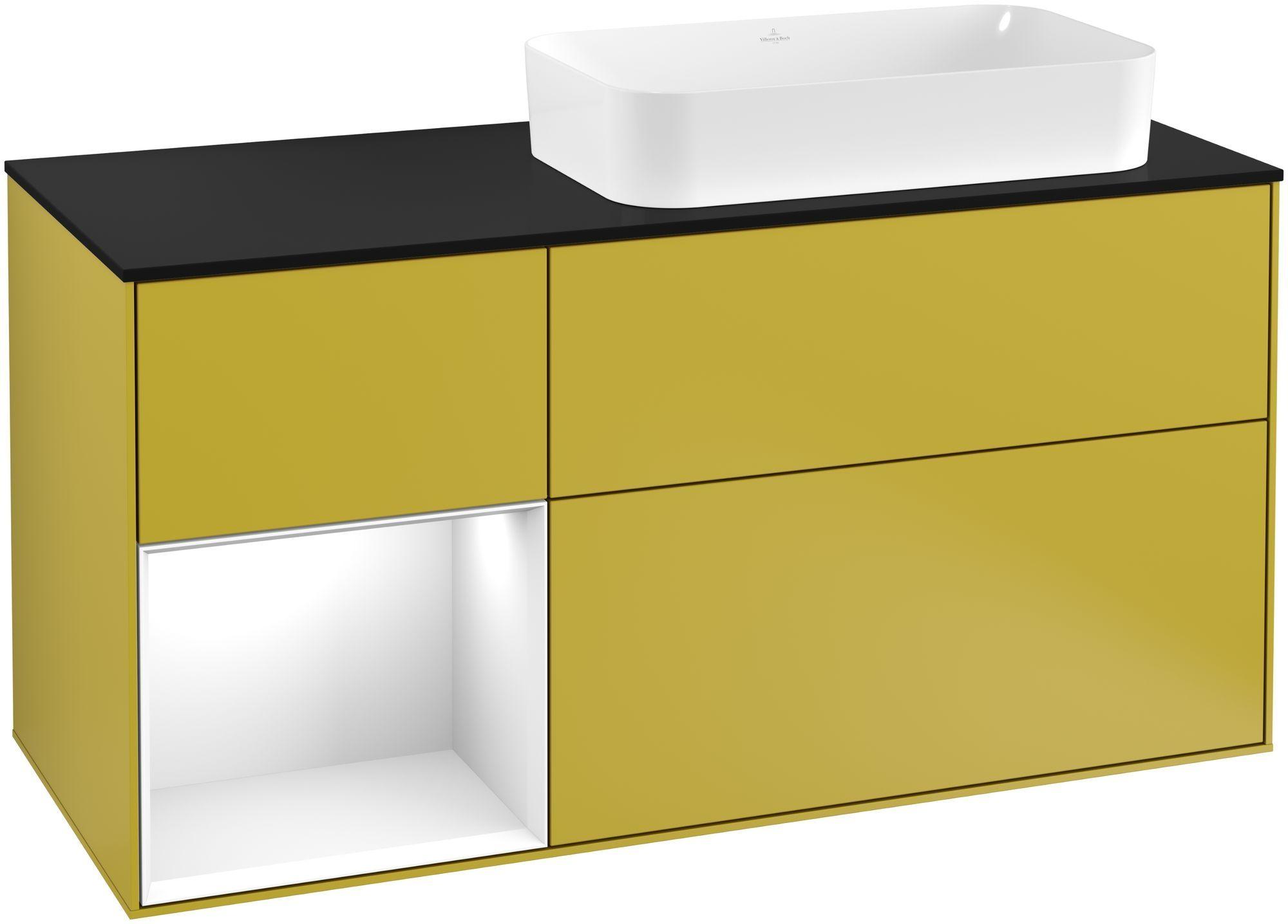 Villeroy & Boch Finion F27 Waschtischunterschrank mit Regalelement 3 Auszüge Waschtisch rechts LED-Beleuchtung B:120xH:60,3xT:50,1cm Front, Korpus: Sun, Regal: Glossy White Lack, Glasplatte: Black Matt F272GFHE