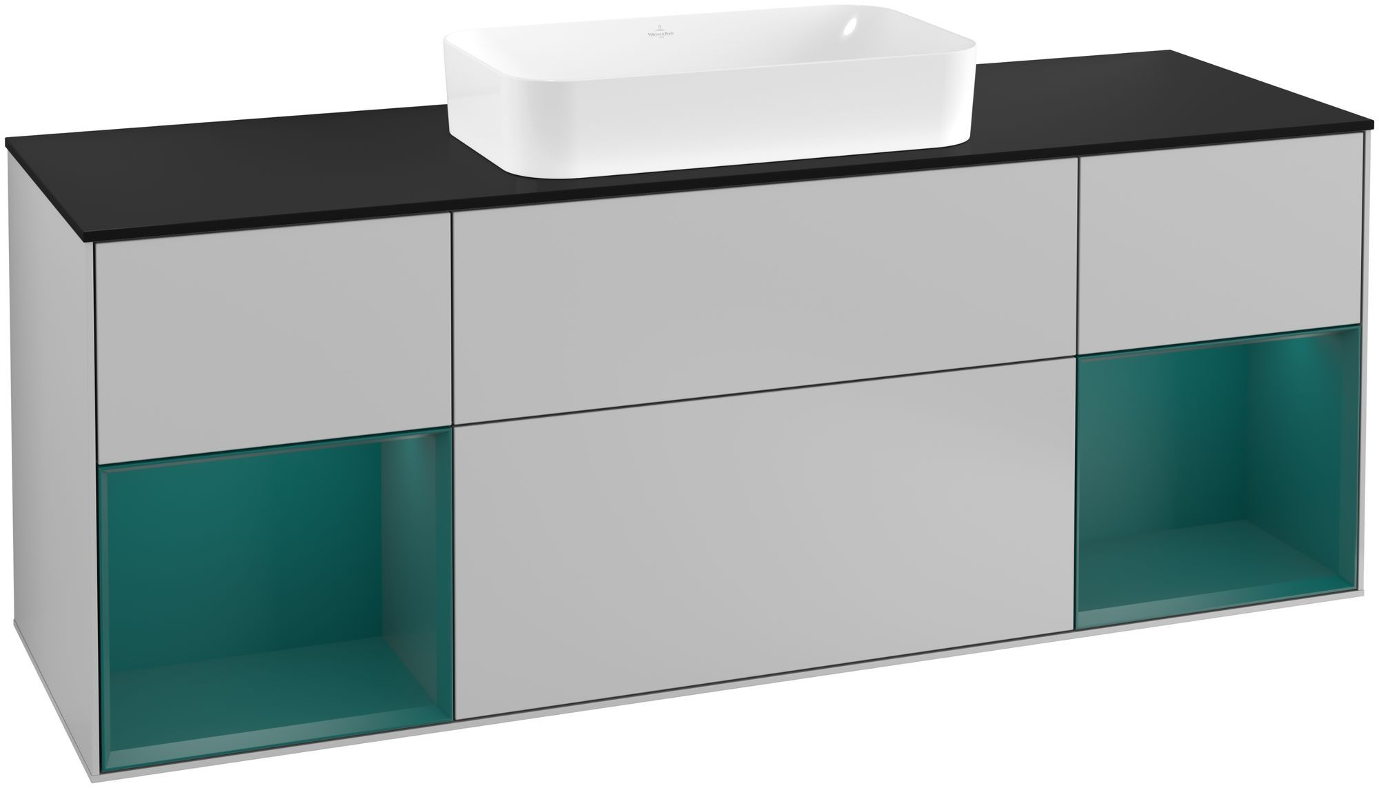Villeroy & Boch Finion F33 Waschtischunterschrank mit Regalelement 4 Auszüge Waschtisch mittig LED-Beleuchtung B:160xH:60,3xT:50,1cm Front, Korpus: Light Grey Matt, Regal: Cedar, Glasplatte: Black Matt F332GSGJ