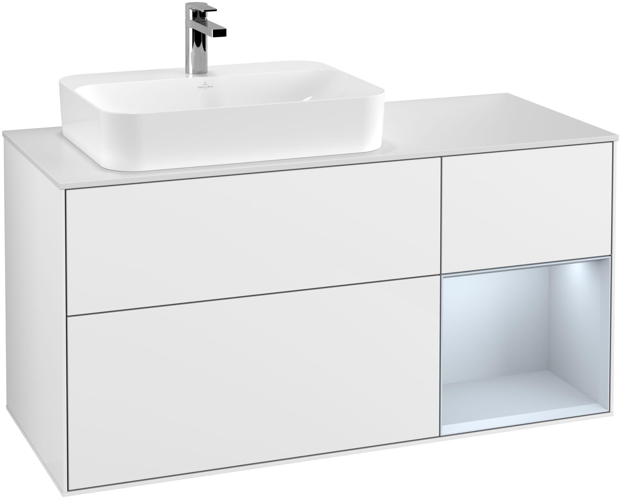 Villeroy & Boch Finion G40 Waschtischunterschrank mit Regalelement 3 Auszüge Waschtisch links LED-Beleuchtung B:120xH:60,3xT:50,1cm Front, Korpus: Glossy White Lack, Regal: Cloud, Glasplatte: White Matt G401HAGF
