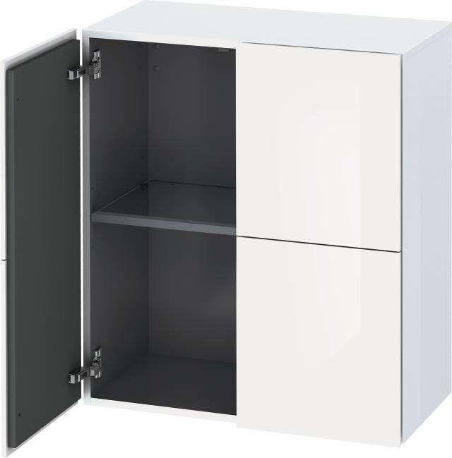 Duravit L-Cube Halbhochschrank B:70xH:80xT:36,3cm 2 Türen weiß hochglanz lack LC117708585