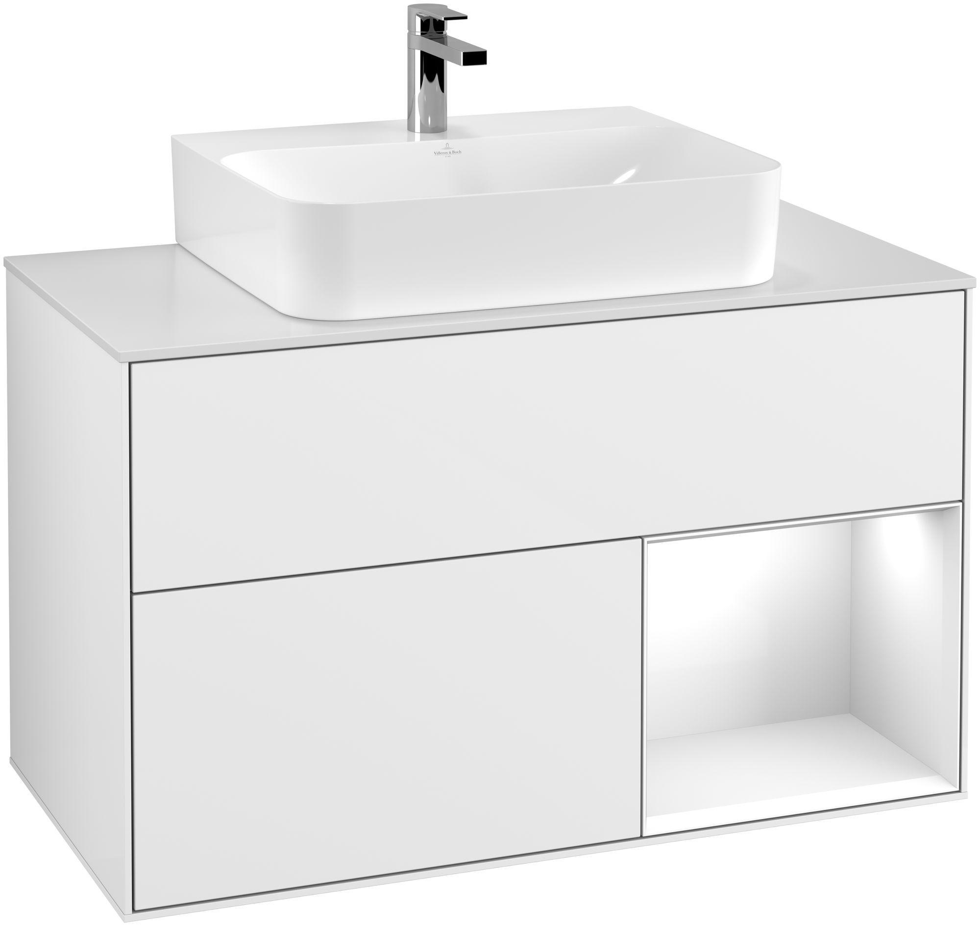 Villeroy & Boch Finion F12 Waschtischunterschrank mit Regalelement 2 Auszüge Waschtisch mittig LED-Beleuchtung B:100xH:60,3xT:50,1cm Front, Korpus: Glossy White Lack, Glasplatte: White Matt F121GFGF