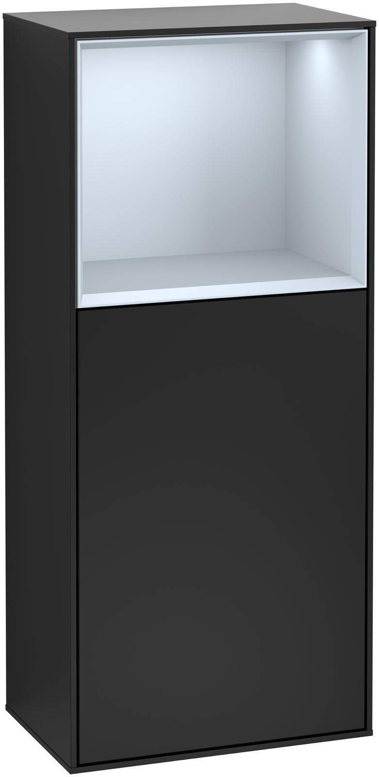 Villeroy & Boch Finion G52 Seitenschrank mit Regalelement 1 Tür Anschlag links LED-Beleuchtung B:41,8xH:93,6xT:27cm Front, Korpus: Black Matt Lacquer, Regal: Cloud G520HAPD
