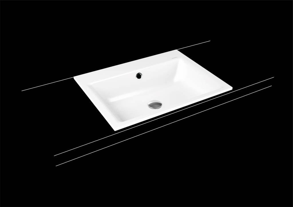 Kaldewei Puro Einbauwaschtisch 3151 B:60xT:46cm mit Überlauf mit 1 Hahnloch weiß mit Perl-Effekt 900106013001