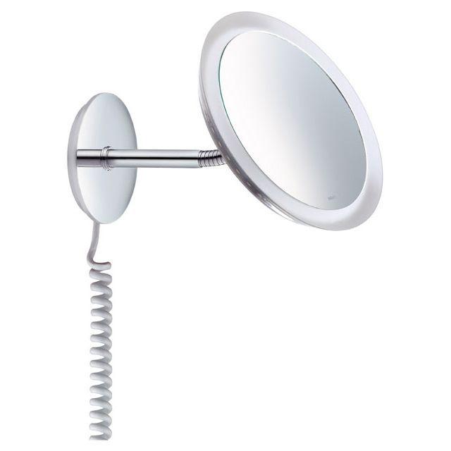 Keuco Bella Vista Kosmetikspiegel Wandmodell mit Spiralkabeleuchtet verchromt 17605019001