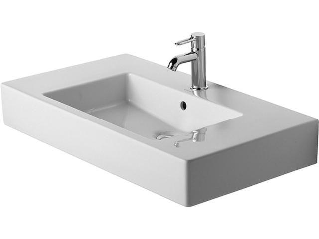 Duravit Vero Möbelwaschtisch B:85xT:49cm 1 Hahnloch mittig mit Überlauf weiß 0329850000