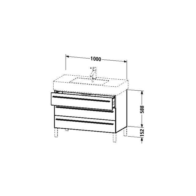 Duravit X-Large Waschtischunterschrank wandhängend B:100xH:58,8xT:47 cm mit 3 Schubkästen pine silver XL655403131