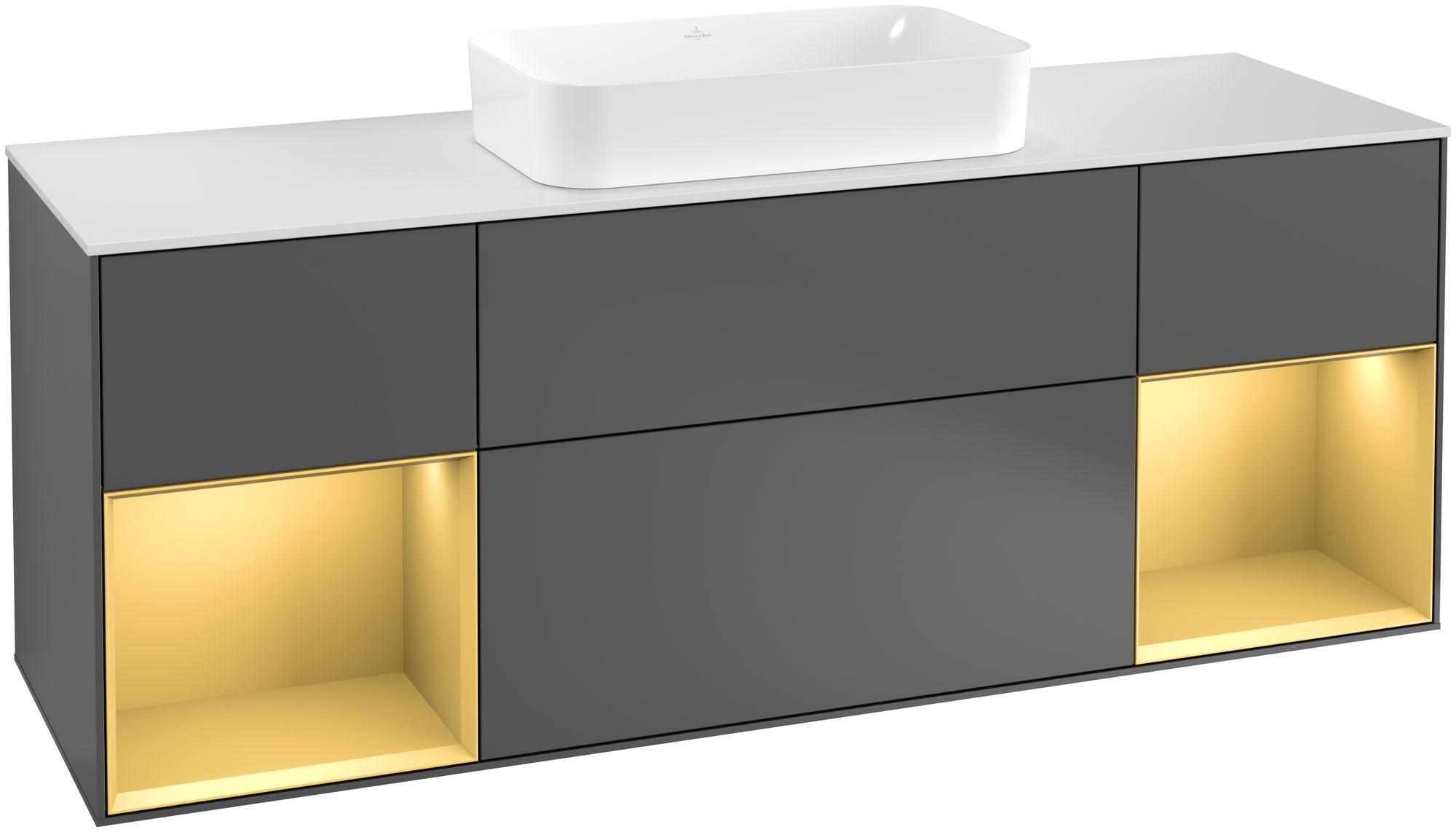Villeroy & Boch Finion F33 Waschtischunterschrank mit Regalelement 4 Auszüge Waschtisch mittig LED-Beleuchtung B:160xH:60,3xT:50,1cm Front, Korpus: Anthracite Matt, Regal: Gold Matt, Glasplatte: White Matt F331HFGK