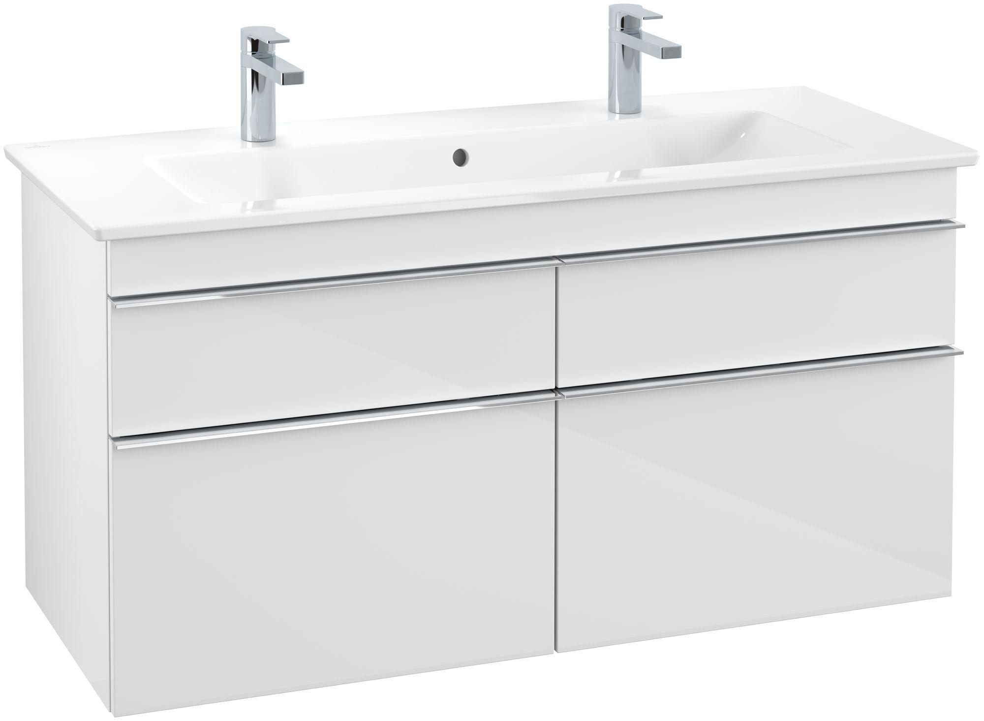 Villeroy & Boch Venticello Waschtischunterschrank 4 Auszüge B:1153xT:502xH:590mm glossy weiß Griffe chrom A92901DH