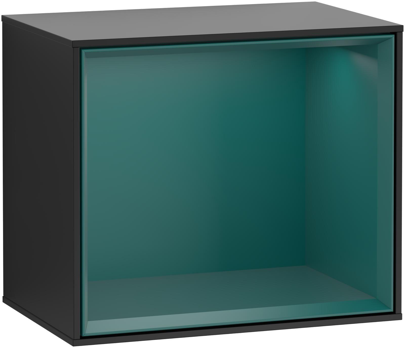 Villeroy & Boch Finion G58 Regalmodul LED-Beleuchtung B:41,8xH:35,6xT:27cm Front, Korpus: Black Matt Lacquer, Regal: Cedar G580GSPD