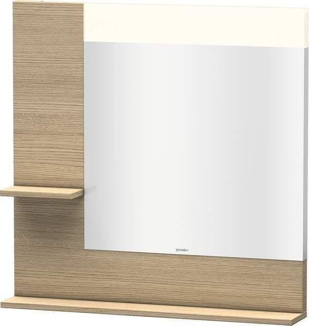 Duravit Vero Spiegel mit LED-Beleuchtung B:80xH:80xT:14,2cm mit Ablagen links und unten europäische eiche VE731105252