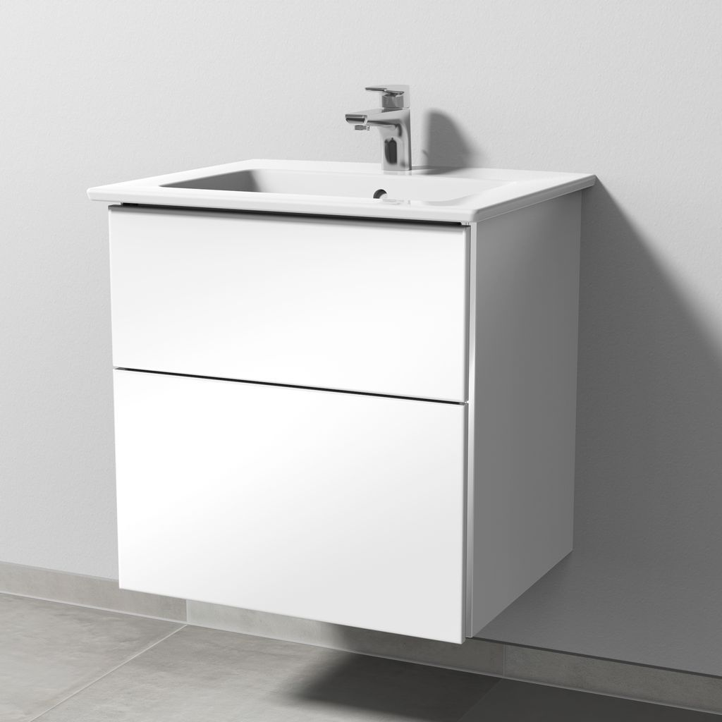 Sanipa 3way Set Keramik-Waschtisch (BS321) H:59,1xB:55,5xL:47,7cm Schwarz-Matt BS32108
