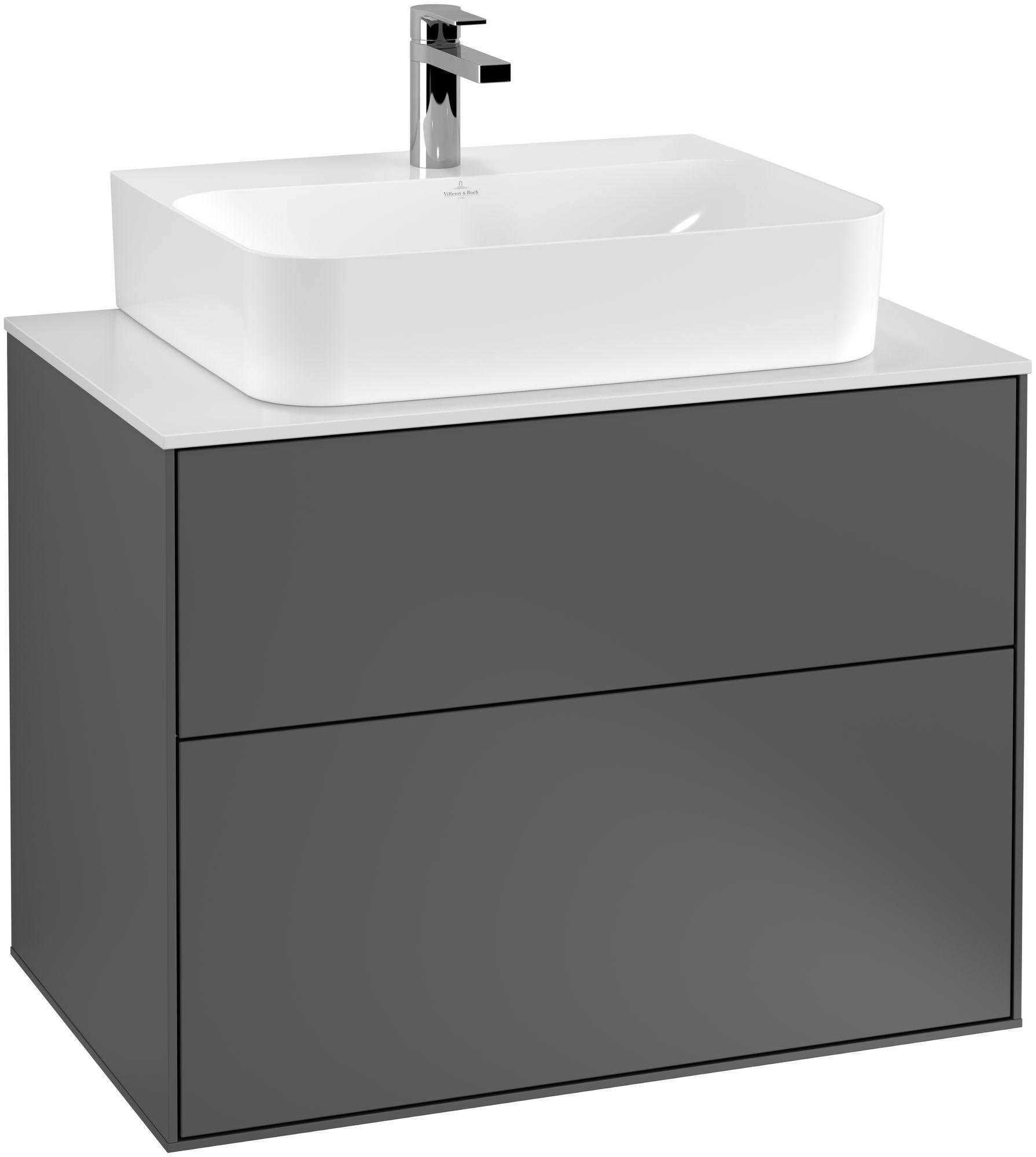 Villeroy & Boch Finion G09 Waschtischunterschrank 2 Auszüge Waschtisch mittig LED-Beleuchtung B:80xH:60,3xT:50,1cm Front, Korpus: Anthracite Matt, Glasplatte: White Matt G09100GK