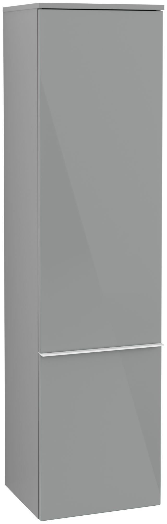 Villeroy & Boch Venticello Hochschrank 1 Tür Anschlag links B:40,4xH:154,6xT:37,2cm Glas glossy grey Griffe white Griffe weiß A95102RA