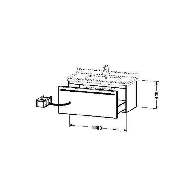 Duravit X-Large Waschtischunterschrank wandhängend B:100xH:44,8xT:46 cm mit 1 Auszug pine silver XL605803131