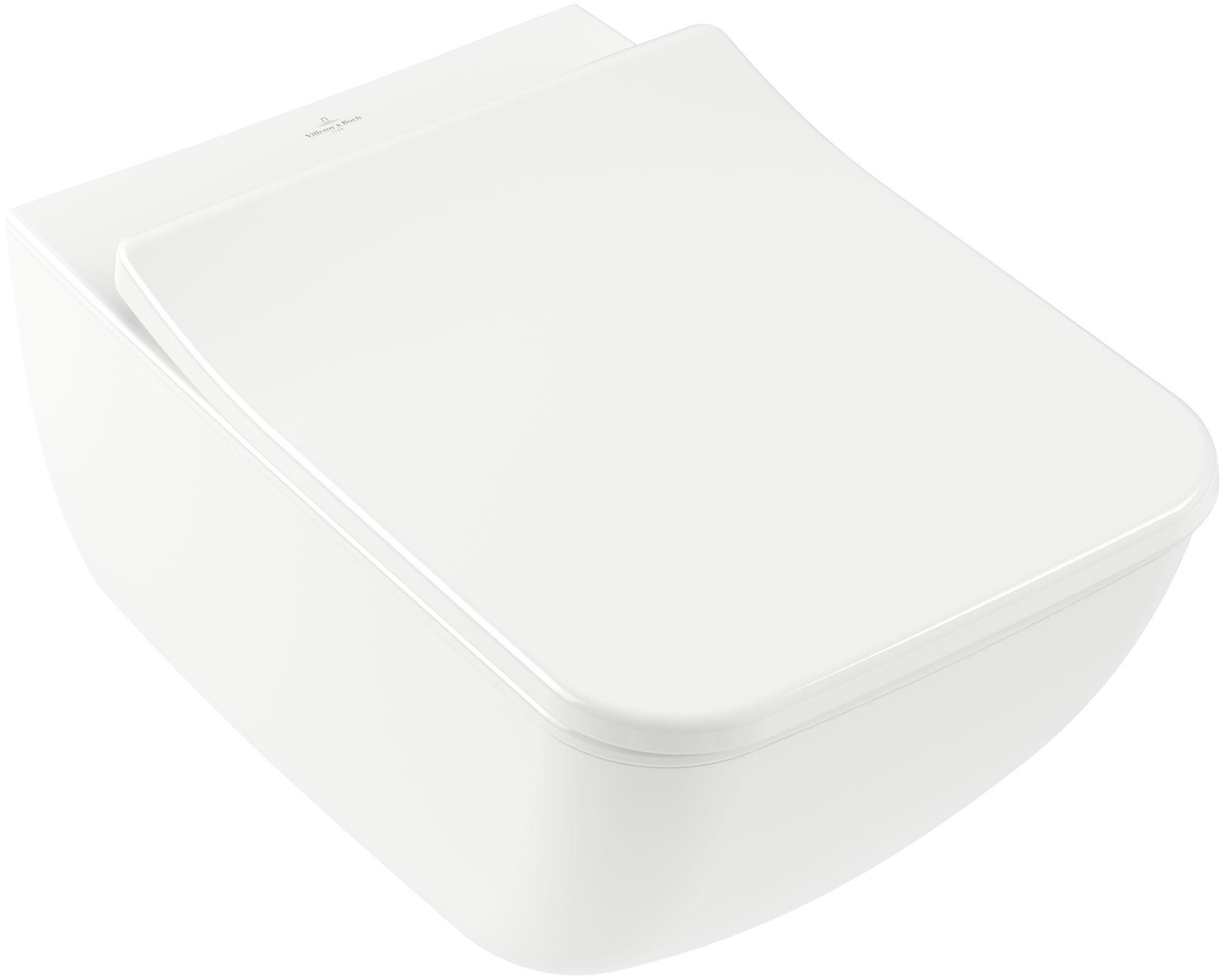 Villeroy & Boch Venticello Wand-Tiefspül-WC Combi-Pack DirectFlush mit offenem Spülrand L:56 B:37,5cm weiß mit CeramicPlus 4611RSR1